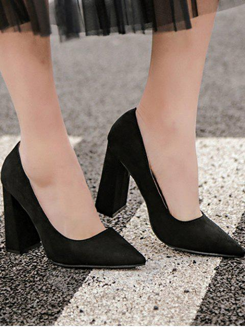 unique Suede Pointed Toe Chunky Heel Pumps - BLACK 37 Mobile