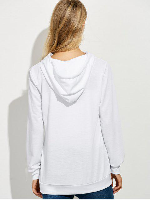 affordable Casual String Hoodie With Letter Print - WHITE S Mobile
