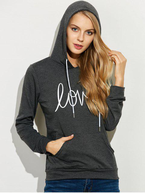 women Casual String Printed Hoodie - DEEP GRAY M Mobile