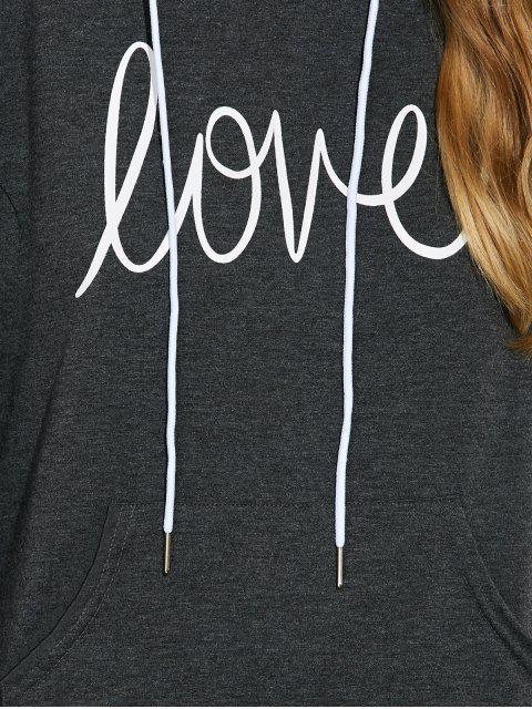 women's Casual String Printed Hoodie - DEEP GRAY S Mobile