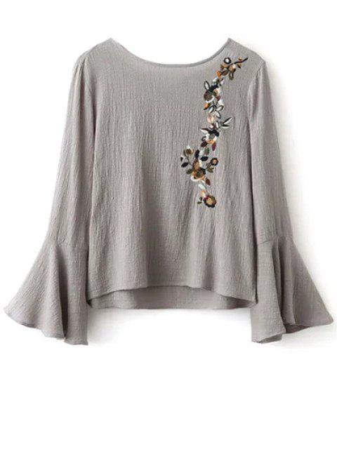 lady Bell Sleeve Floral Embroidered Blouse - GRAY L Mobile