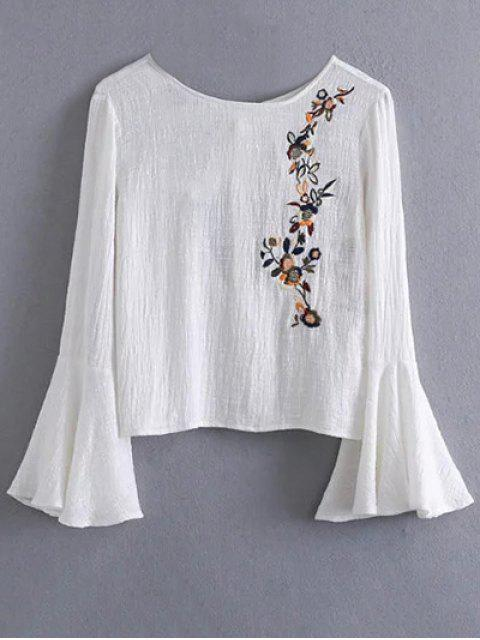 hot Bell Sleeve Floral Embroidered Blouse - WHITE M Mobile