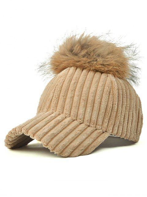 women's Pom Ball Corduroy Baseball Hat - LIGHT KHAKI  Mobile