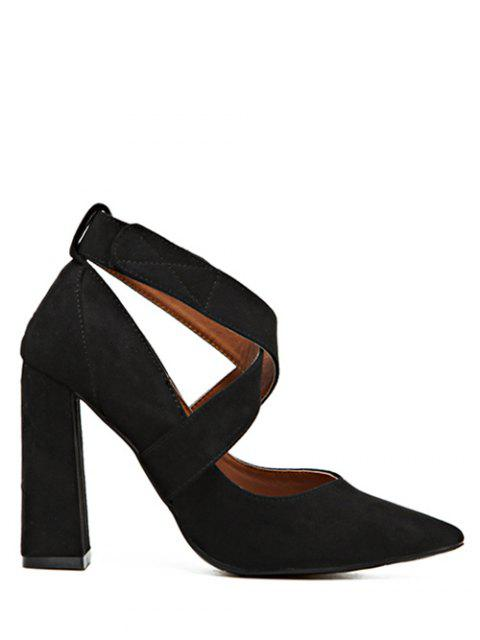 buy Cross Straps Chunky Heel Pointed Toe Pumps - BLACK 37 Mobile