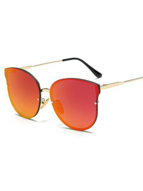 online Full Rims Butterfly Mirrored Sunglasses - ORANGE RED  Mobile