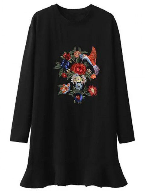 fashion Sequins Floral Embroidered Dress - BLACK M Mobile