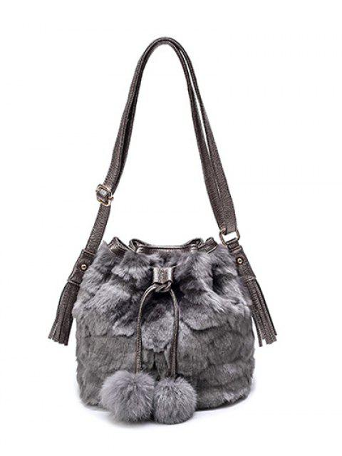 buy Pompon Tassel Furry Bucket Bag - GRAY  Mobile