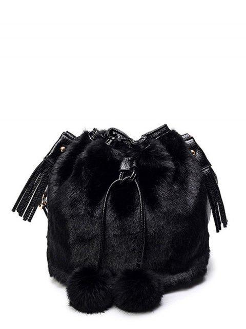 womens Pompon Tassel Furry Bucket Bag - BLACK  Mobile