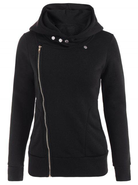 hot Fleece Inner Asymmetric Zip Hoodie - BLACK M Mobile