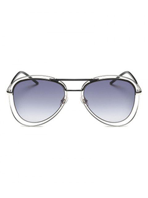 latest Double Rims Metal Pilot Sunglasses - BLACK  Mobile