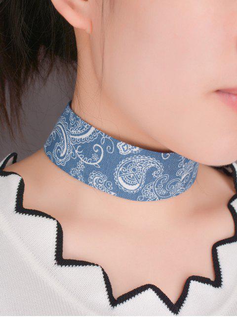 womens Graphic Print Denim Choker Necklace -   Mobile