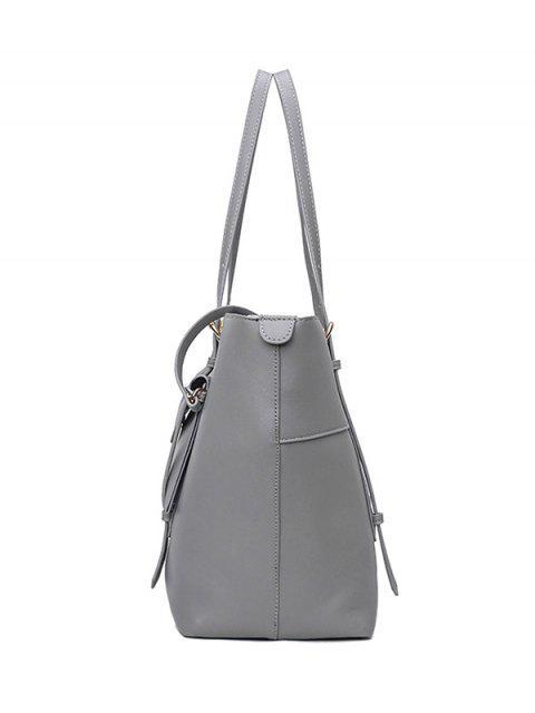 women's Buckle Strap PU Leather Handbag Set - GRAY  Mobile