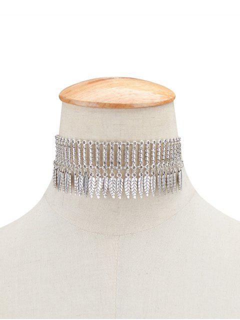ladies Embellished Leaf Necklace -   Mobile