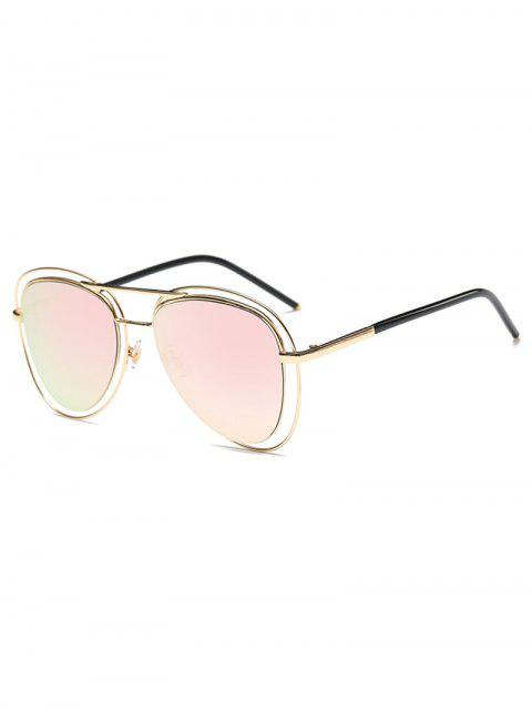 fashion Double Rims Mirrored Pilot Sunglasses -   Mobile