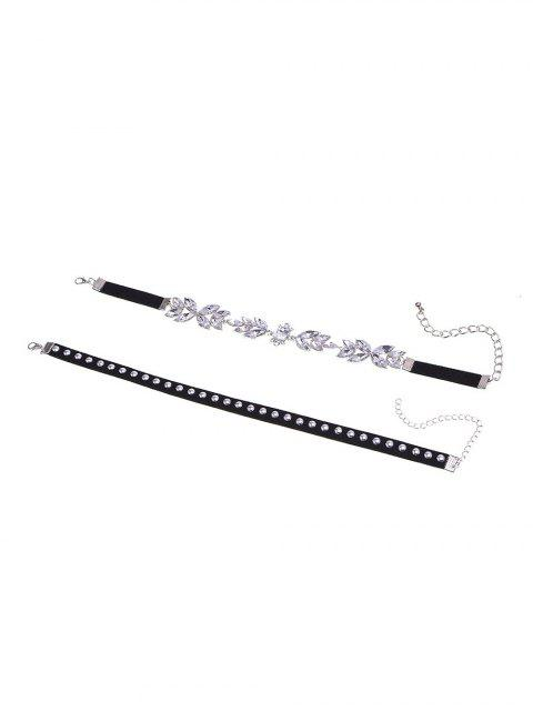 lady 2PCS Faux Crystal Rivets Velvet Chokers -   Mobile