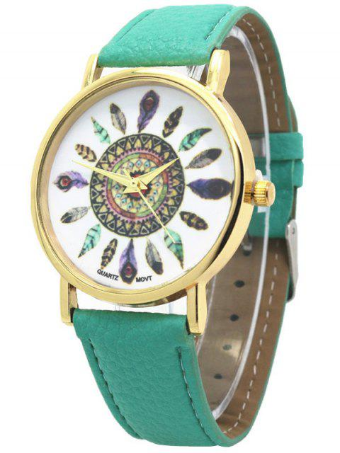 buy Faux Leather Feather Pattern Quartz Watch - GREEN  Mobile