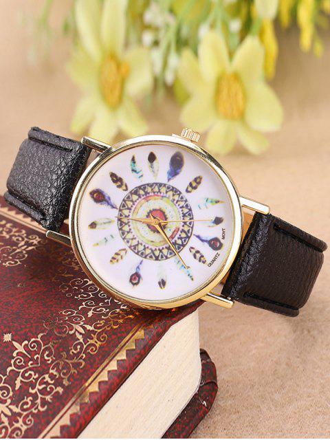 Montre à quartz avec bracelet en faux cuir et cadran à motif de plume - Noir  Mobile