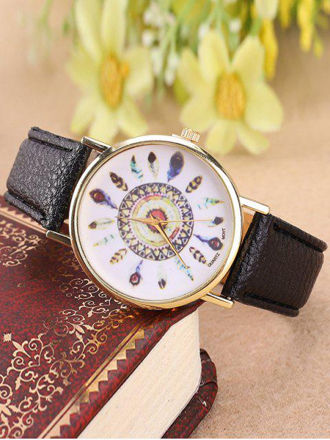 Reloj Cuarzo Patrón Plumas Cuero Artificial - Negro  Mobile
