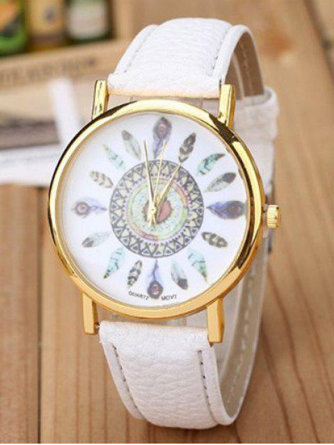 women Faux Leather Feather Pattern Quartz Watch -   Mobile