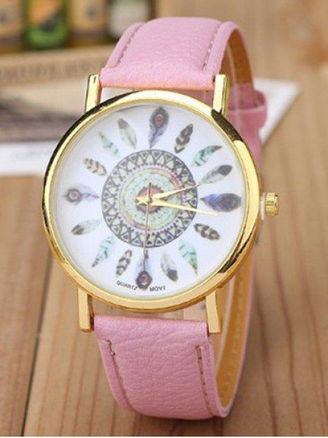 lady Faux Leather Feather Pattern Quartz Watch - PINK  Mobile