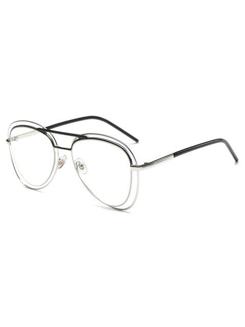 sale Double Rims Transparent Lens Pilot Sunglasses - SILVER  Mobile