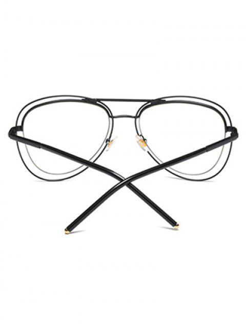 affordable Double Rims Transparent Lens Pilot Sunglasses - BLACK  Mobile