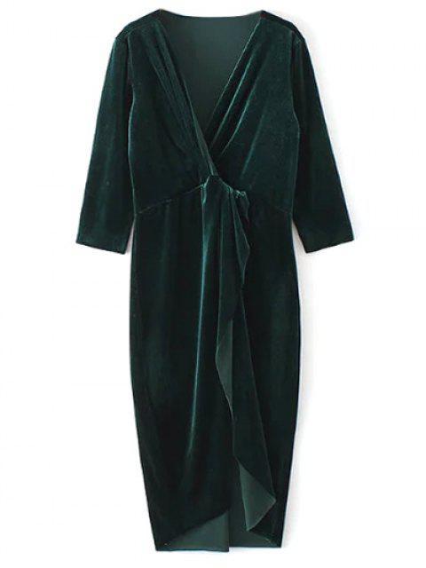 outfits Twist Front V Neck Velvet Dress - DARK GREEN S Mobile