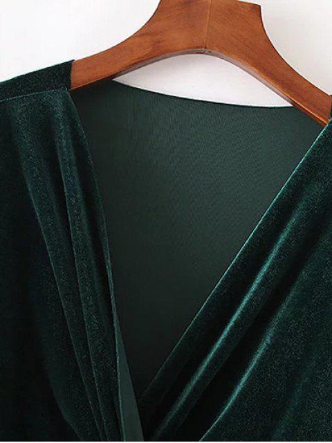 shop Twist Front V Neck Velvet Dress - PURPLISH BLUE L Mobile