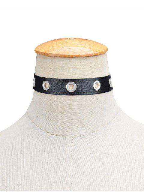 shops Hollowed Round Faux Leather Choker Necklace - BLACK  Mobile