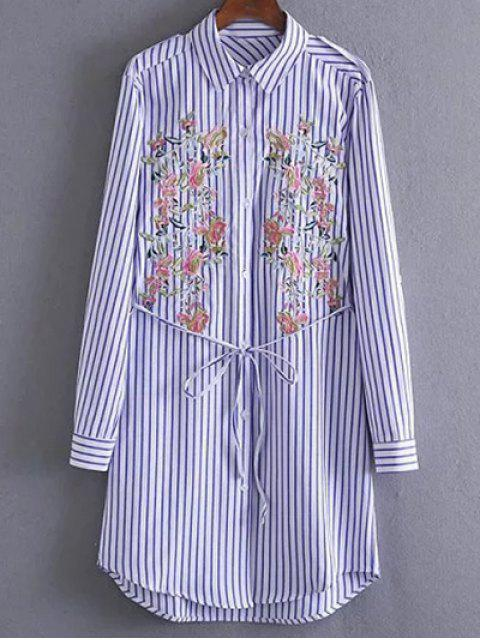 hot Embroidered Striped Shirt Tunic Dress - STRIPE M Mobile