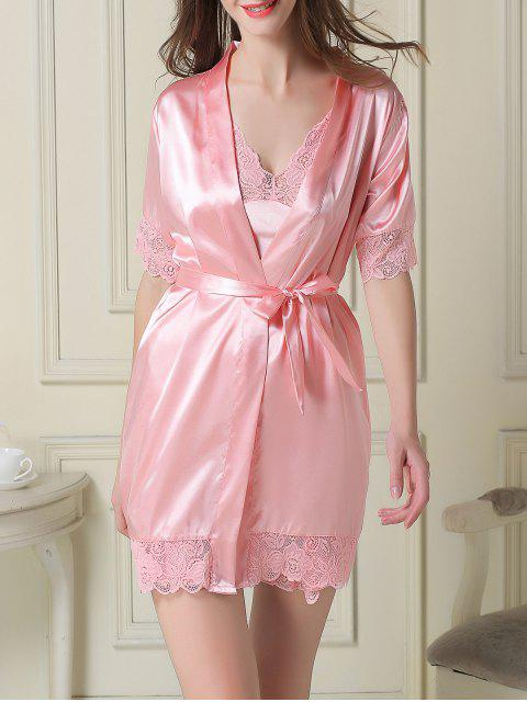 women Silky Slip Dress and Robe - PINK M Mobile