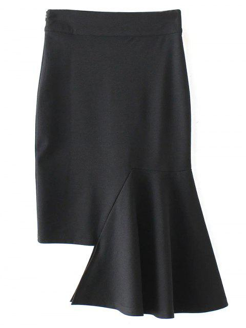 affordable Asymmetric Trumpet Skirt - BLACK S Mobile
