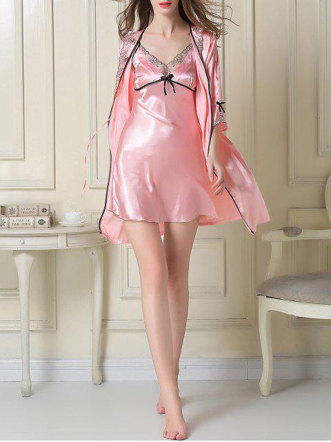 shops Satin Slip Dress and Sleep Robe - PINK L Mobile