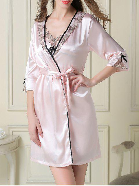 unique Satin Slip Dress and Sleep Robe - LIGHT PINK 2XL Mobile
