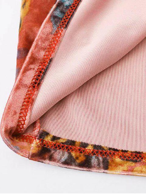 online Printed Side Slit Velvet Tank Dress - JACINTH L Mobile