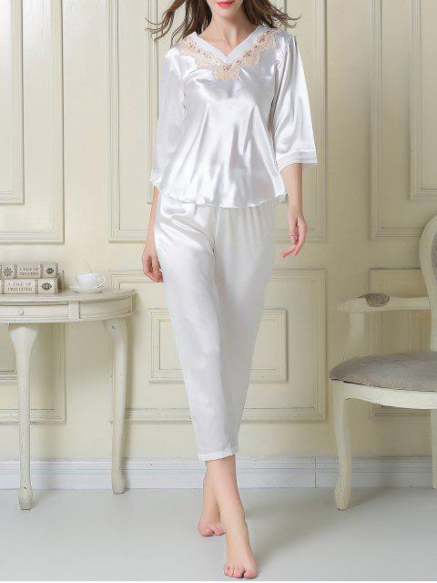 women's Satin Tee and Capri Pants Pajama - WHITE L Mobile