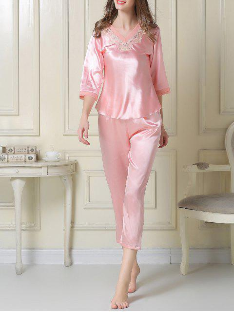 best Satin Tee and Capri Pants Pajama - PINK XL Mobile