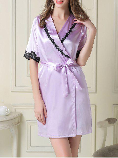 chic Satin Slip Dress and Belted Sleep Robe - LIGHT PURPLE 2XL Mobile