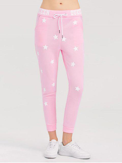 hot Skinny Star Print Sports Pants - PINK S Mobile