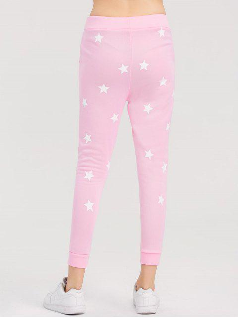 online Skinny Star Print Sports Pants - PINK L Mobile