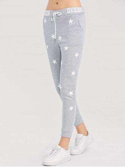 shops Skinny Star Print Sports Pants - GRAY S Mobile