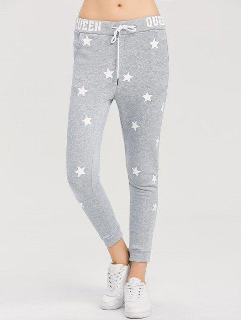 outfits Skinny Star Print Sports Pants - GRAY L Mobile