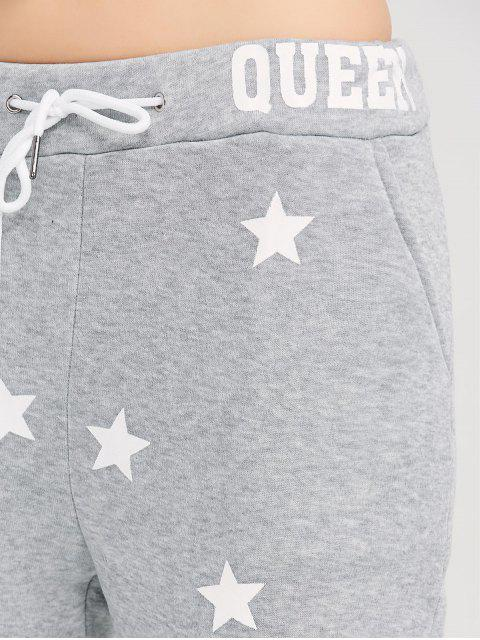 outfit Skinny Star Print Sports Pants - GRAY XL Mobile