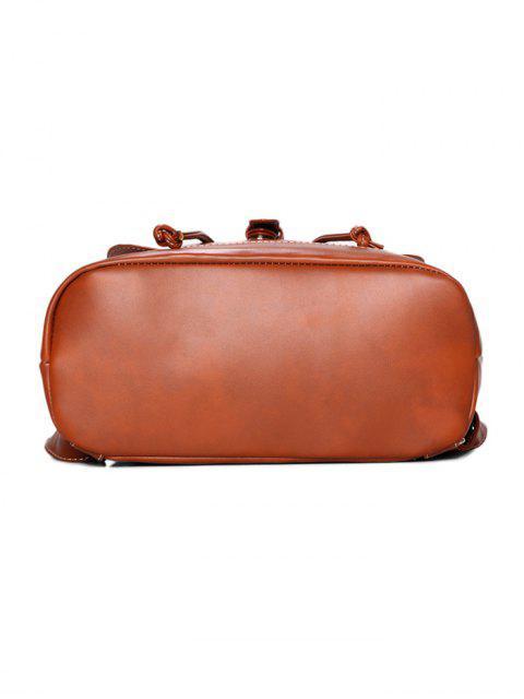 online Buckle Strap Backpack With Crossbody Bag - BLACK  Mobile