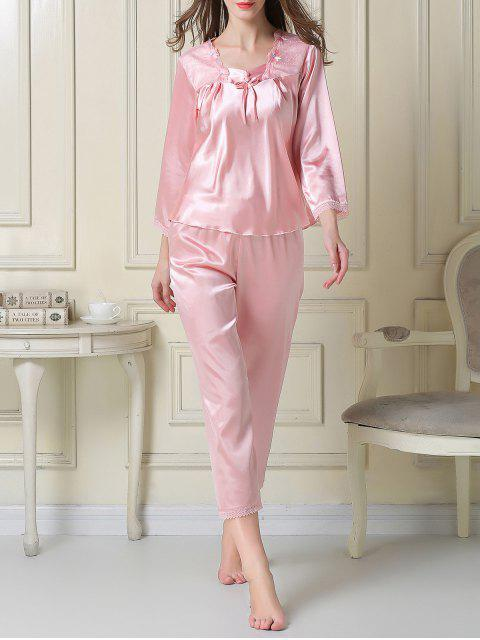 best Embroidered Satin Tee and Capri Pants Pajama - PINK M Mobile