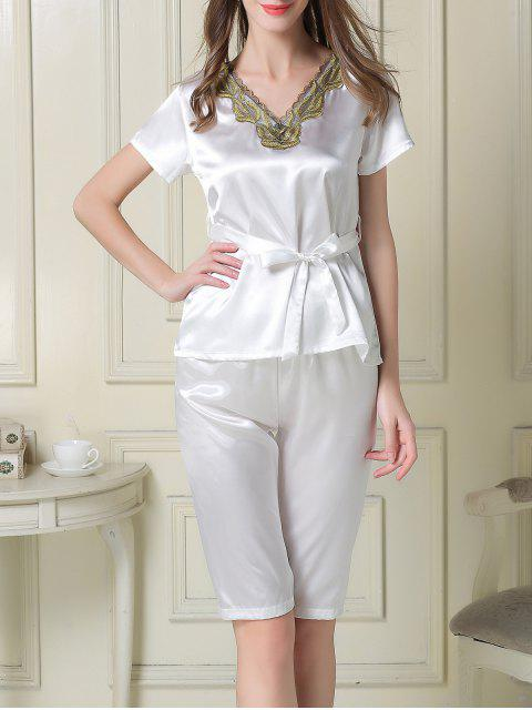 trendy Embroidered Neckline Satin Tee and Shorts Pajama - WHITE 2XL Mobile