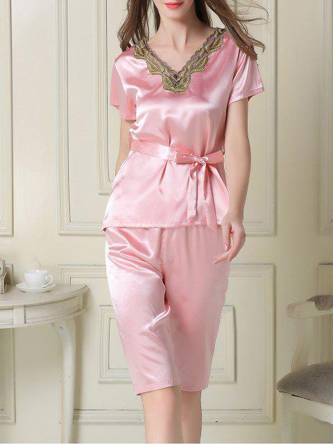 sale Embroidered Neckline Satin Tee and Shorts Pajama - PINK XL Mobile