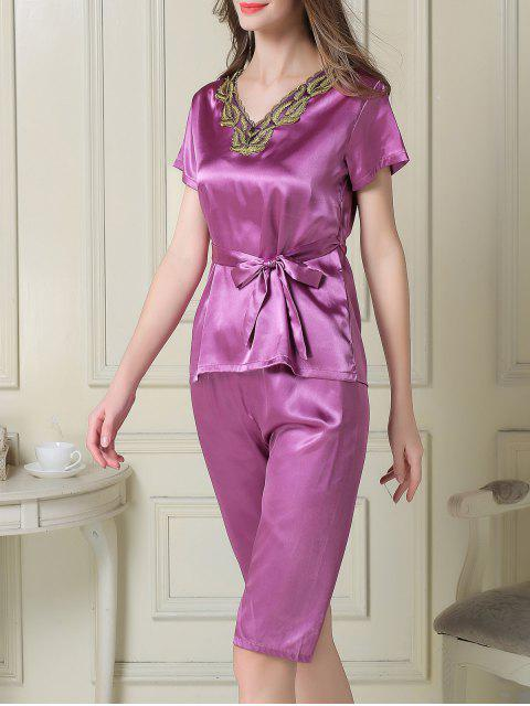 ladies Embroidered Neckline Satin Tee and Shorts Pajama - PURPLE M Mobile