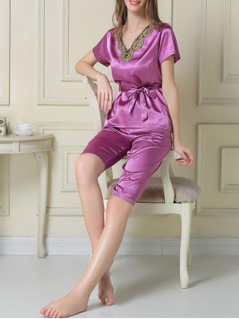 womens Embroidered Neckline Satin Tee and Shorts Pajama - PURPLE 2XL Mobile