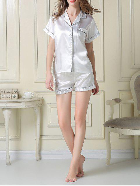 online Short Sleeve Satin Boxer Pajama - WHITE L Mobile